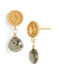 Satya Jewelry - Gray 'celestial' Pyrite Drop Earrings - Pyrite - Lyst