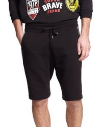 DIESEL - Black Cotton Sweat Shorts - Lyst