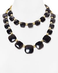 """kate spade new york - Black Color Block Leather Chain Necklace, 17"""" - Lyst"""