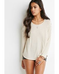 Forever 21 | Gray Lace-paneled Slub Knit Top | Lyst
