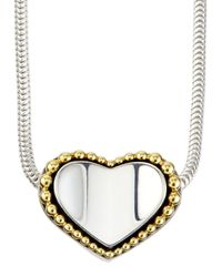 Lagos | Metallic Sterling Silver & 18K Gold Heart Necklace | Lyst