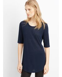 VINCE | Blue Textured Jersey Elbow Sleeve Tee | Lyst