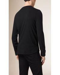 Burberry - Black Long-Sleeved Cotton Henley for Men - Lyst