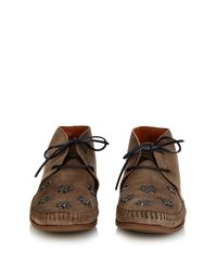 Tomas Maier - Gray Palm-Tree Embellished Suede Desert Boots for Men - Lyst