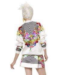 Manish Arora | White Cotton Satin Printed Bomber Jacket | Lyst