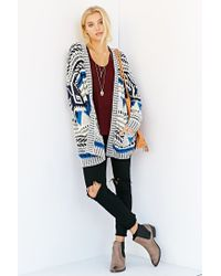Ecote - Blue Patterned Intarsia Open-Front Cardigan - Lyst