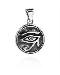 Aeravida - Metallic Circle Eye Of Horus Egyptian Symbol .925 Silver Pendant - Lyst