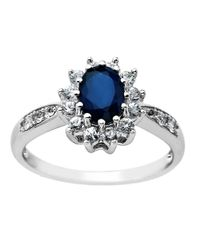 Lord & Taylor - Blue Sapphire Ring In 14 Kt. White Gold - Lyst