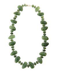 Kenneth Jay Lane | Green Multi-shape Jade Pebble Necklace | Lyst