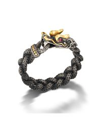 John Hardy | Dragon Head Bracelet On Medium Braided Chain With Black Oxidation | Lyst