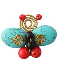 Aeravida | Handmade Swirl Brass Blue-red Butterfly Free Sz Ring | Lyst
