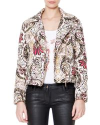 Just Cavalli - Multicolor Fur Collar Scroll-print Puffer Coat - Lyst
