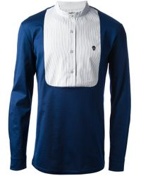 Alexander McQueen | Blue Contrast Yoke Shirt for Men | Lyst