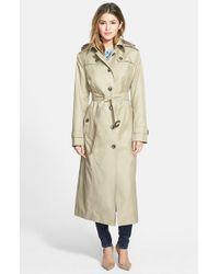 London Fog | Natural Hooded Long Single Breasted Trench Coat | Lyst