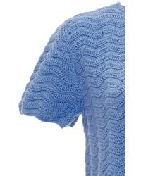 Orley - Blue Cotton Wave Stitch Hand Crocheted Dress - Lyst