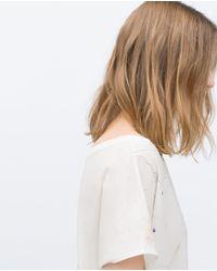 Zara | White Printed T-shirt | Lyst