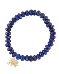 Sydney Evan | Blue 8mm Faceted Lapis Beaded Bracelet With 14k Gold/diamond Small Elephant Charm (made To Order) | Lyst