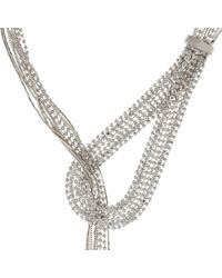 River Island | Metallic Silver Tone Thread-through Necklace | Lyst