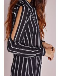 Missguided - Cold Shoulder Stripe Shirt Black - Lyst