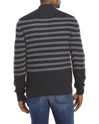 Izod - Black Striped Quarter-Zip Sweater for Men - Lyst
