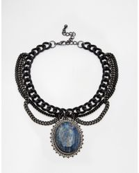 ASOS - Blue Solstice Stone Choker Necklace - Lyst