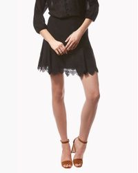 Veronica Beard | Black Embroidered Flounce Skirt | Lyst