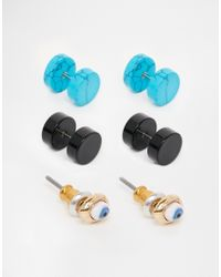 ASOS | Blue Eye Stud Earring Pack for Men | Lyst