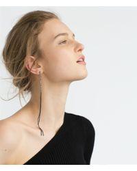 Zara | Metallic Long Chain And Shiny Hoop Earrings | Lyst