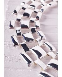 Missguided - Metallic Linked Statement Collar Silver - Lyst