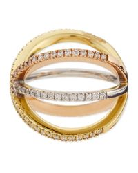 Roberto Coin - Metallic 18K Tricolor Gold Diamond Double-Crisscross Ring - Lyst
