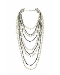 TOPSHOP - Natural Facet And Pearl Multi-row Necklace - Lyst