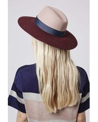 TOPSHOP | Pink Colour-block Fedora Hat | Lyst