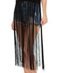 AKIRA - All That Fringe Black Tank Top - Lyst