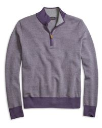 Brooks Brothers | Purple Merino Wool Bird's-eye Half-zip Sweater for Men | Lyst
