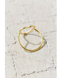 Urban Outfitters | Metallic 18k + Sterling Silver Delicate Open Heart Ring | Lyst