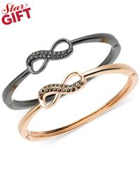 Guess - Pink Two-tone Crystal Bow Bangle Bracelet Set - Lyst