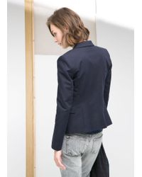 Mango - Blue Essential Cotton-Blend Blazer - Lyst