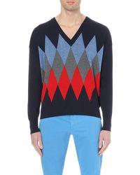 AMI | Blue Argyle-pattern Wool Jumper for Men | Lyst