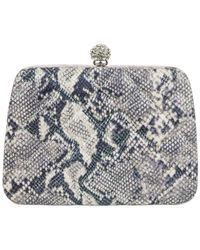 Jessica Mcclintock | Gray Irridescent Snake Minaudiere | Lyst