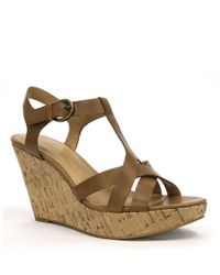 Tahari - Brown Sarah Leather Sandal Wedges - Lyst