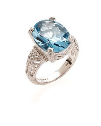 Judith Ripka | Blue Topaz & White Sapphire Estate Oval Sterling Silver Ring Size 7 | Lyst