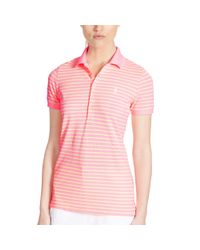Ralph Lauren Golf - Pink Tailored Golf-fit Striped Polo - Lyst