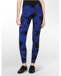 Calvin Klein | Blue White Label Performance Tie Dye Cotton Stretch Leggings | Lyst