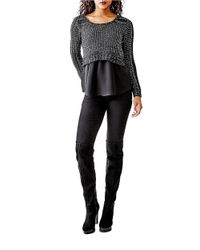 Guess - Black Cropped Knit Sweater - Lyst