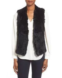 Quinn - Black Genuine Rabbit Fur & Ponte Vest - Lyst