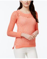 Michael Kors | Pink Michael Mesh High-low Sweater | Lyst