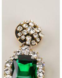 Stella Jean - Green Crystal Drop Earrings - Lyst