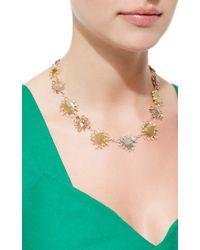 Nina Runsdorf - Multicolor 18K Gold And Platinum Mixed Color Sliced Diamond Rose Cut Necklace - Lyst