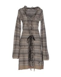 Fairly - Brown Short Dress - Lyst