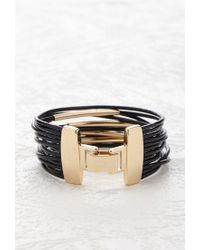 Forever 21 - Black Layered Faux Leather Bracelet - Lyst